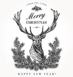 Vintage Christmas card Deer vector image