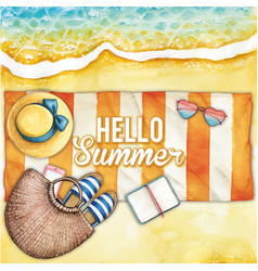 watercolor beach with striped towel banner vector image