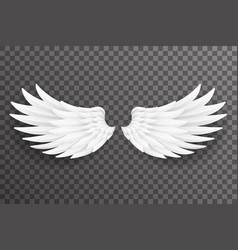 white bird angel fly wings 3d realistic design vector image