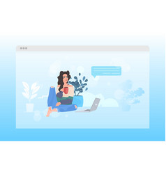 Woman using laptop remote work quarantine vector