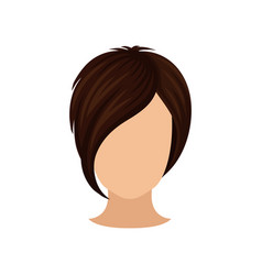 women s head with short hairstyle long bang dark vector image