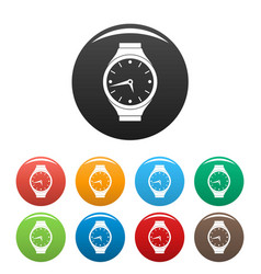 wristwatch round icons set color vector image