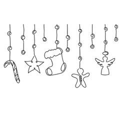 Xmas christmas decorative hanging border vector