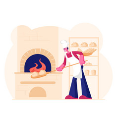 young man baker wearing white apron and toque put vector image