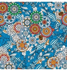 Blue full frame floral seamless background vector image vector image