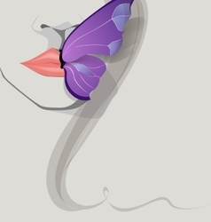 butterfly on lips vector image vector image