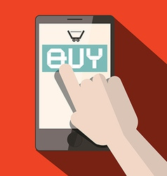 Cell Phone with Buy Title and Cart with Hand vector image vector image
