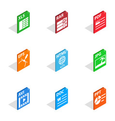 document file format icons isometric 3d style vector image