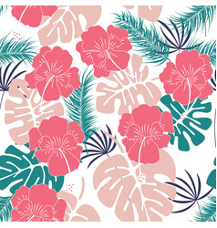 seamless tropical pattern with monstera leaves vector image vector image