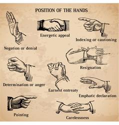 Set of vintage hands vector image vector image