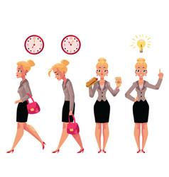 Young beautiful businesswoman in various business vector