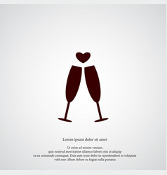 champagne with heart icon simple love valentine vector image