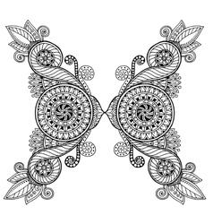 Ethnic floral zentangle doodle background pattern vector image