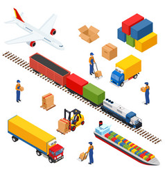 isometric logistics composition of different vector image vector image