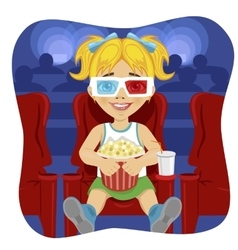 little girl with 3d glasses holding popcorn vector image