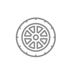 simple car wheel line icon symbol and sign vector image