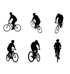 six bicycles set vector image vector image