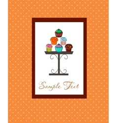Card with colorful cupcakes vector image vector image