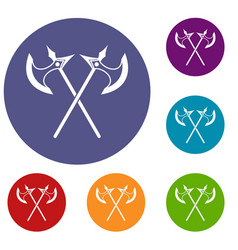 crossed battle axes icons set vector image vector image