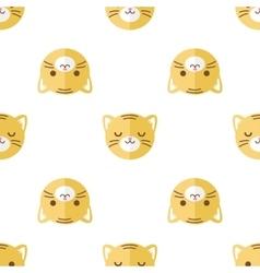 Flat cartoon tiger heads seamless pattern vector