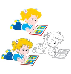 Girl reading vector image