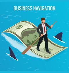 isometric business navigation concept businessman vector image
