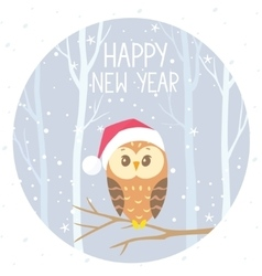 owl winter color vector image vector image