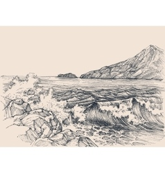 Sea waves breaking on rocky shore vector image vector image