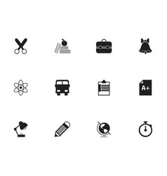 set of 12 editable school icons includes symbols vector image