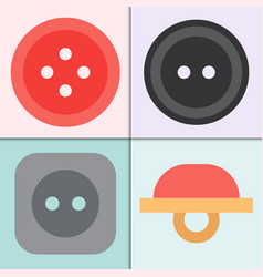 set of four sewing buttons with threads round vector image