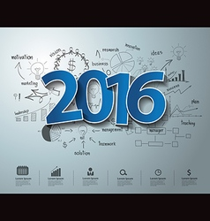 Tags label 2016 text on drawing business success vector image
