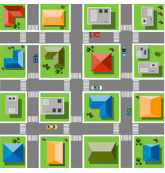 top view city with streets roads houses and vector image