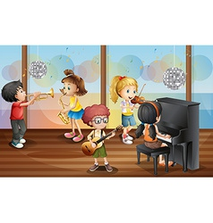 Children and music vector image vector image