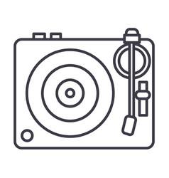 dj vinylturntable line icon sign vector image