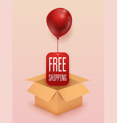 Free shipping business concept box with red vector