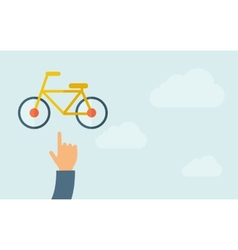 Hand pointing to a bicycle icon vector image vector image