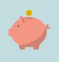 piggy bank bitcoin vector image