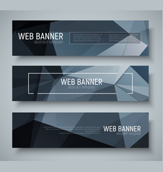 set of horizontal banners with abstract black vector image vector image