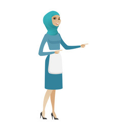 young muslim cleaner pointing to the side vector image vector image