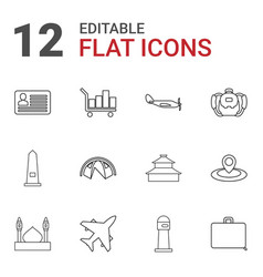 12 tourism icons vector