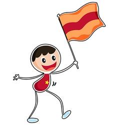 A boy holding a flag vector image