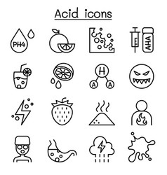 acid icon set in thin line style vector image