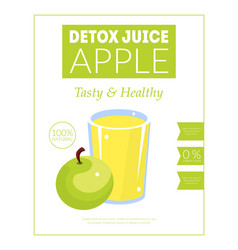 Apple detox juice banner template tasty and vector