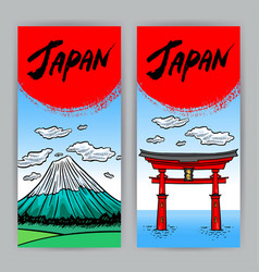 Banners hand-drawn japanese attractions vector