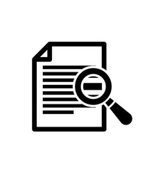 Black document with search icon isolated on white vector