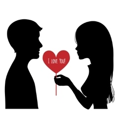 Black silhouette of young couple vector