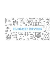 Blogger review concept outline horizontal vector