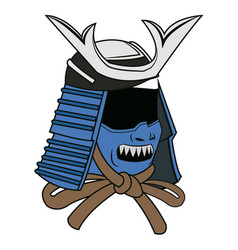 blue mask samurai helmet warrior image vector image