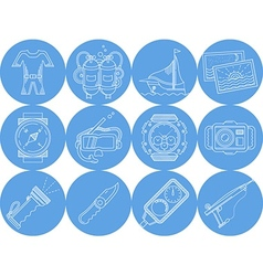 Blue round icons collection of diving vector image