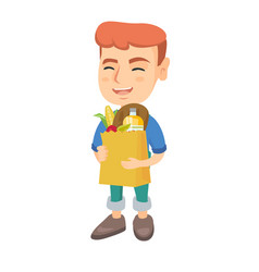 Boy holding paper shopping bag full of groceries vector
